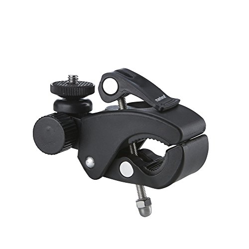 Mantona 21284 Klemmhalterung XL (für GoPro Hero 6 5 4 3+ 3 2 1, Session und andere kompatible Action Cams, sehr stabile Klemme für Rohre und Stativbeine, mit 1/4 Zoll Anschluss) schwarz/silber