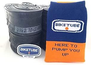 Biketube Brand Mountain Bike Inner Tubes - Super Value 4 Pack - Free TubeSock and Sticker - 29 x 2.1-2.4 Inch, Presta Valve