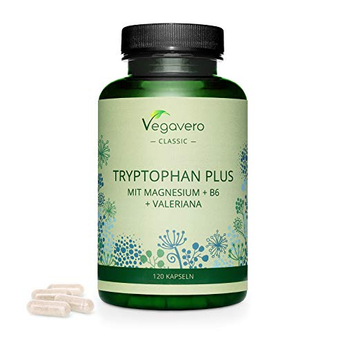 L-Tryptophan Plus Vegavero | Highly Dosed- 600mg per Day | with Added Magnesium, Vitamin B6 & Valerian Extract | NO Additives | 100% Vegan | 120 Capsules