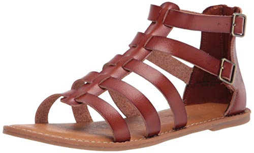 Amazon Essentials Women's Gladiator Flat Sandal, Tan, 5 B US