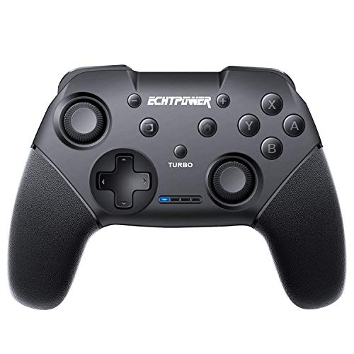 ECHTPower Controller Wireless per Nintendo Switch, Supporta Turbo, 6-Axis Gyro, Dual Vibrazione, Gampad Joypad Ergonomico, Switch PRO Controller Batteria da 600mAh