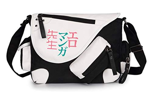 WANHONGYUE Eromanga Sensei Anime Messenger Bag Canvas Umhängetasche Kuriertasche Schultertasche für Reise Arbeit und Schule Schwarz / 1