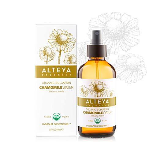 Alteya Organic Pulvérisateur d'eau de camomille 240 ml (Bioglass)- Certifié organique par USDA Pure Bio Florale Distillé à la vapeur à la main de Anthemis Nobilis - Éclairant, Hydratant et Calmant