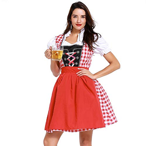 Zilosconcy Kleid Damen Dirndl für Oktoberfest Traditionall Kostüme Kurzarm Mini Trachtenkleid Schulterfrei Dirndlkleid Spitzenschürze Trachtenmoden Bierfest Trachtenkarneval Bayerisches