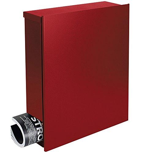 Designer-Briefkasten mit Zeitungsfach rubin-rot (RAL 3003) MOCAVI Box 111 Postkasten mit Zeitungsrolle modern, groß, hochwertig, deutsche Markenqualität