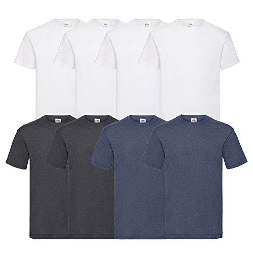 Fruit of the Loom 8 T Shirts Valueweight T Rundhals M L XL XXL 3XL 4XL 5XL Übergröße Diverse Farbsets (L, 4Weiß/2DarkHeatherGrey/2VintageHeatherNavy)