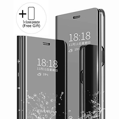 Homi2019 Hülle Compatible with Oppo Realme 5 Pro Clear View Standing Cover,Spiegel Handyhülle Schutzhülle Flip Cover Schutz Tasche (Gratis Geschenk Bildschirmschutz Handy-Folie)