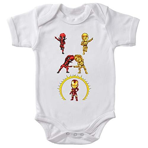 Body bébé Manches Courtes Blanc Parodie Star Wars - Iron Man - Deadpool, C-3PO et Iron Man - Cyber Fusion !! Yaaahaaa ! (Body bébé de qualité supérieure de Taille 6 Mois - imprimé en France)