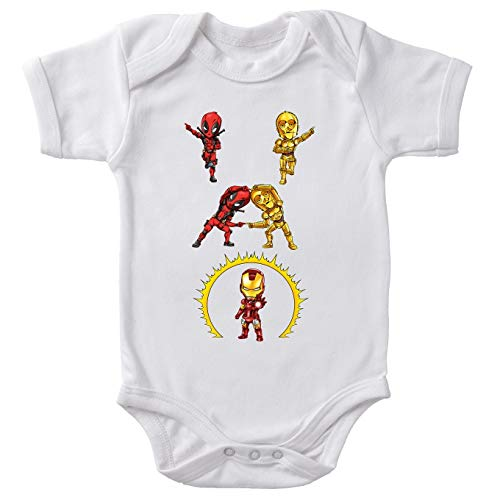 Body bébé Manches Courtes Blanc Parodie Star Wars - Iron Man - Deadpool, C-3PO et Iron Man - Cyber Fusion !! Yaaahaaa !(Body bébé de qualité supérieure de Taille 6 Mois - imprimé en France)