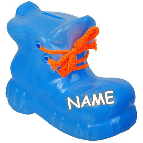 alles-meine.de GmbH 2 Stück _ große 3D Effekt _ XL - Spardosen - Schuh / Wanderschuh - blau - inkl. Name - 18 cm groß - stabile Sparbüchsen aus Kunststoff / Plastik - Sparschwein..
