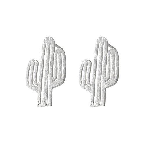 Selia Kaktus Ohrring Mexiko Ohrstecker Wüste Statement Sommer minimalistische gebürstete Optik handgemacht (Silber)