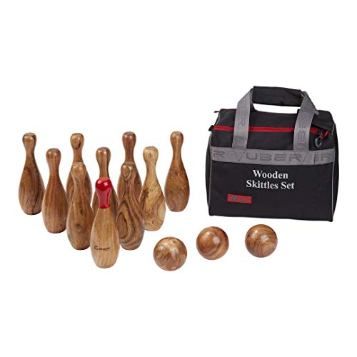 Ubergames Hochwertiges Kegelspiel - Top Qualität Wurfspiel - aus ECO Hartholz - mit Robuste Tragetasche - Made in India - hartholz Rosewood