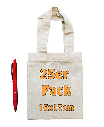 Cottonbagjoe Kleine Baumwolltasche unbedruckt 15x17 cm als kleine Geschenktasche zur Aufbewahrung oder zum Bemalen für Kinder 100% Baumwolle Stofftasche Jutebeutel