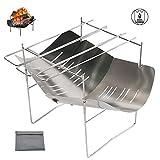 焚き火台バーベキューコンロ 2-in-1超軽量 折りたたみコンロ 3-4人用 炭BBQグリルステンレス ラック 組立簡単 收纳袋 付多機能グリル