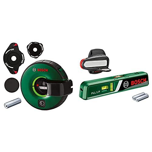 Bosch Linienlaser Atino (1,5 m Arbeitsbereich, horizontales oder vertikales Nivellieren, integriertes Maßband) & Bosch Laser-Wasserwaage PLL 1 P (Arbeitsbereich Linienlaser 5 m, 20 m)