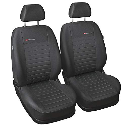 Carpendo Sitzbezüge Auto Vordersitze Autositzbezüge Schonbezüge Vorne Dunkelgrau-Grau mit Airbag System - Elegance P4