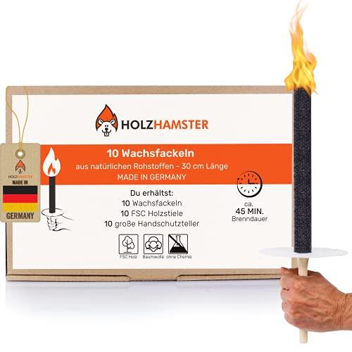 Holzhamster 10 Premium Wachsfackeln aus natürlichen Rohstoffen - 45Min. Brenndauer - Garten Fackeln mit extra großem Handschutz, ideal für Kinder, zur Nachtwanderung/Lagerfeuer - Made in Germany