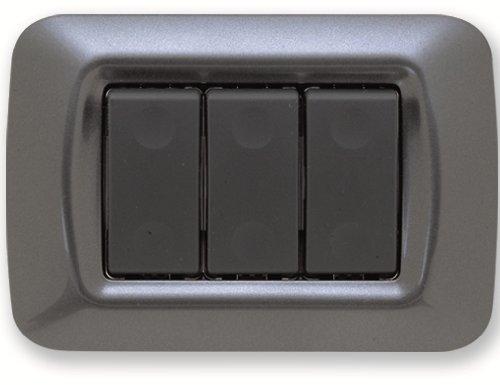 Gewiss 22613 GW22613 Placca, Serie System a 3 Posti, Ardesia Metalizata