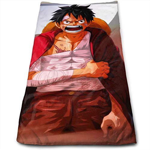 Anime ONE PIECE Monkey D. Luffy Toallas Algodón Cara Altamente Absorbente Suave Sensación Dedos Adecuado Familias Hoteles Baños Playas 27.5x12In
