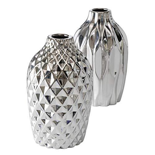 2 jarrones decorativos de gres con estructura moderna surtida, altura de 25 cm, color plateado