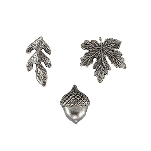 Fall Leaves and Acorn Metal Push Pins, Silver Finish, Solid Metal, 15 Pieces Photo #2