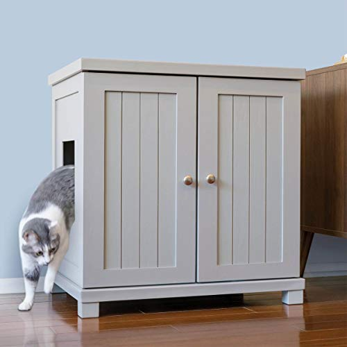 The Refined Feline Cat Litter Box Enclosure Cabinet, Hidden Litter Tray Cat Furniture, Large + XLarge, Cottage Style, Smoke Color