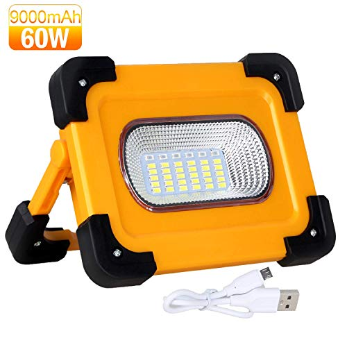 Portable LED Work Light Rechargeable Solar Work Lights COB 60W Waterproof 9000MAh LED Flood Lights with Stand Magnetic for Outdoor Camping Hiking Emergency Car Repairing and Job Site Lighting