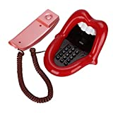 Retro Phone Red Tongue, Wired Phone Novelty Sexy Lip Mouth, Fixed Phone WX-3203# Multi-Functional Indoor Decoration for Office, Home Gift Kid