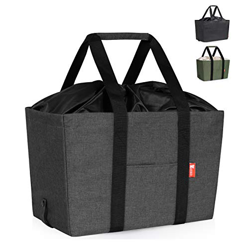 30L Large Collapsible Shopping Bag, Insulated Reusable Grocery Bags, Heavy Duty Utility Tote Bag with Reinforced Bottom, Durable Polyester Fabric and Upgraded Drawstring Closure (Grey)