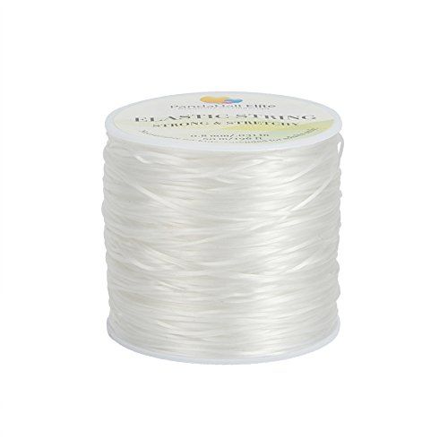 PH PandaHall 60 Yards Clear Elastic String Cord 0.8mm Polyester Stretch Thread Elastic Bracelet Rope Crystal Beading Cord for Jewelry Making Bracelet Beading