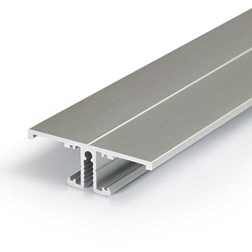 2m Aluprofil BACK (BA) 2 Meter Aluminium Profil-Leiste eloxiert für LED Streifen - Set inkl Abdeckung-Schiene durchsichtig-klar mit Montage-Klammern und Endkappen (2 Meter transparent slide)