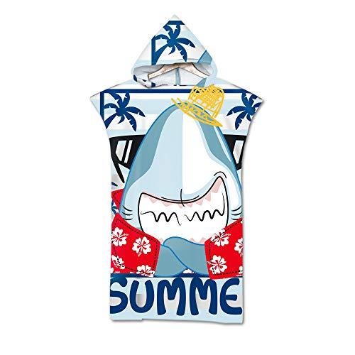 Hearda Poncho de Playa con Capucha, Toalla de Microfibra 3D Impreso para Surf, Toalla Unisex de Secado Rápido, Utilizada para Nadar Surfear Bucear (tiburón,110x75cm)