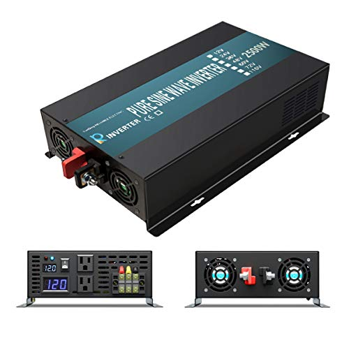 WZRELB 2500 watt 12V Pure Sine Wave Inverter, Automotive Car Power Inverter,Dual 120V AC outlets, DC to AC,Best Back Up Power Supply for RV,Home,Office