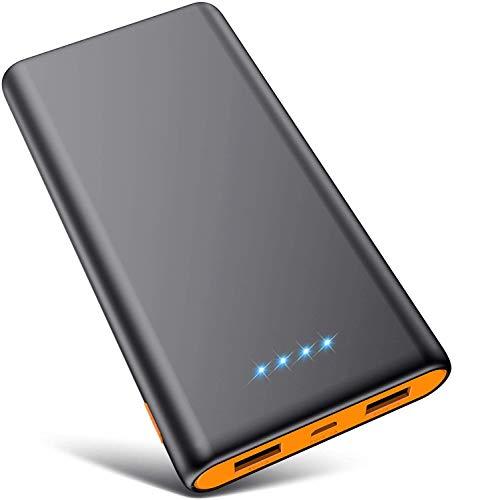 モバイルバッテリー 26800mAh 大容量 【PSE認証済 急速充電】 2USB出力ポート LED残量表示 携帯充電器 Android/iPhone/タブレット対応 オレンジ