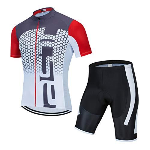 Ciclismo jersey set uomini Bike Top mountain bike jersey pantaloncini tuta ciclo Shirt Strada MTB Bicicletta outdoor sport abbigliamento estate bianco grigio M