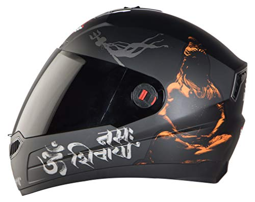 Steelbird SBA-1 Mahadev Full Face Helmet in Matt Finish with Smoke Visor (Medium 580 MM, Matt Black/Orange)