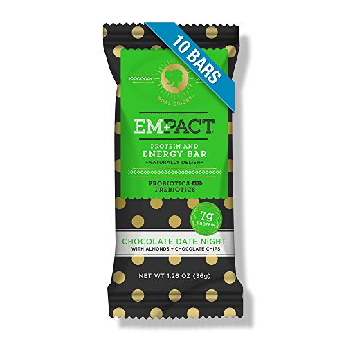 Empact Chocolate Date Night Protein Bars: Fitness Bars, No Preservatives, Gluten-Free, Soy Protein Free, Probiotic, Prebiotic Nutrition Bar (10 Count) (Healthy Things To Snack On At Night)