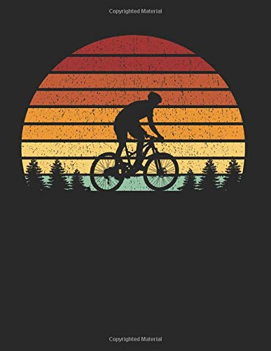 Mountain Biker Notebook: Vintage Sunset Mountain Biking 8.5 x 11 (A4) Lined Ruled Journal Gift For Mountain Bikers And Cyclists (108 Pages)