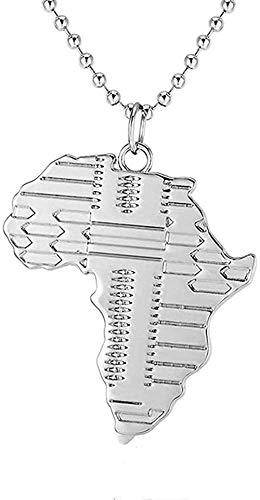 ZGYFJCH Co.,ltd Collar Collar de Plata Mapa Negro Collar de Hombre de África Collar de Hip Hop con Colgante Collier 70cm Cadena de Cuentas Hombre Joyería Collar Kolye Regalo