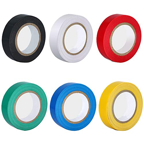 Nsiwem Isolierband Farbig Set 6 Stück Isolierband 18mm x 10m Klebeband Elektriker Wasserdicht PVC Band Elektriker Klebeband Farbig für Elektrische Kabel Reparatur Zubehör
