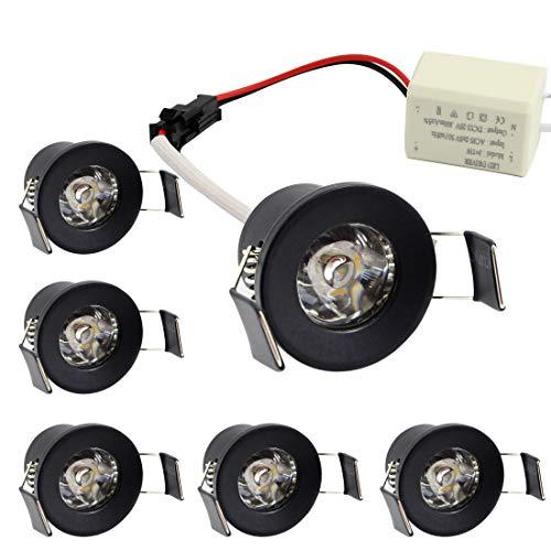 Mini luz LED empotrada de 1.06 pulgadas, 100 lúmenes, luces de techo, paquete de 6, aluminio, negro, blanco frío 6000K 1.5 vatios 220 voltios