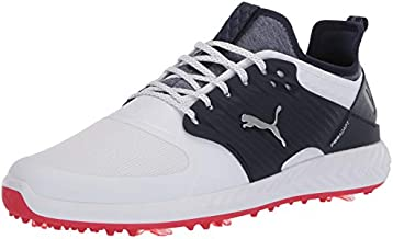 PUMA mens Ignite Pwradapt Caged Golf Shoe, Puma White-puma Silver-peacoat, 12.5 US