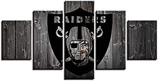 ZHFFYY 5 Pieces Canvas Painting Oakland and Raiders Logo Wall Art Modern Landscape Artwork Abstract Pictures for Home Office Decorations Gift Ready to Hang Framed