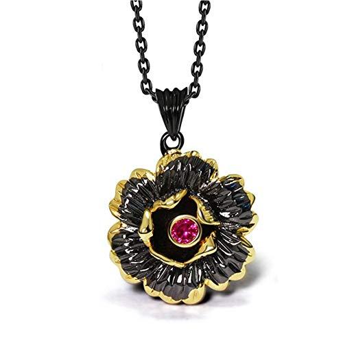 Zhenwo Cadenas Gótica De Color Oro Negro CZ Rosa Flor Joyería De Fantasía De La Moda Femenina Colgante De Collar De Cobre,A