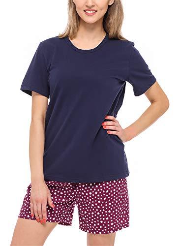 Merry Style Damen Schlafanzug MS10-177 (Marineblau/Weinrot/Sterne, XL)