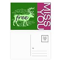 黒い動物の鹿のシルエットのナチュラル ポストカードセットサンクスカード郵送側20個ミス