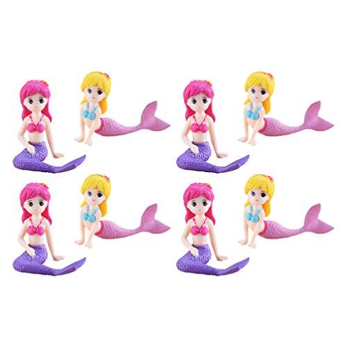 STOBOK Meerjungfrau Figuren Meerjungfrau Puppe Kuchen Topper für Kinder Geburtstag Hochzeitstorte Dekoration, 8 Stück