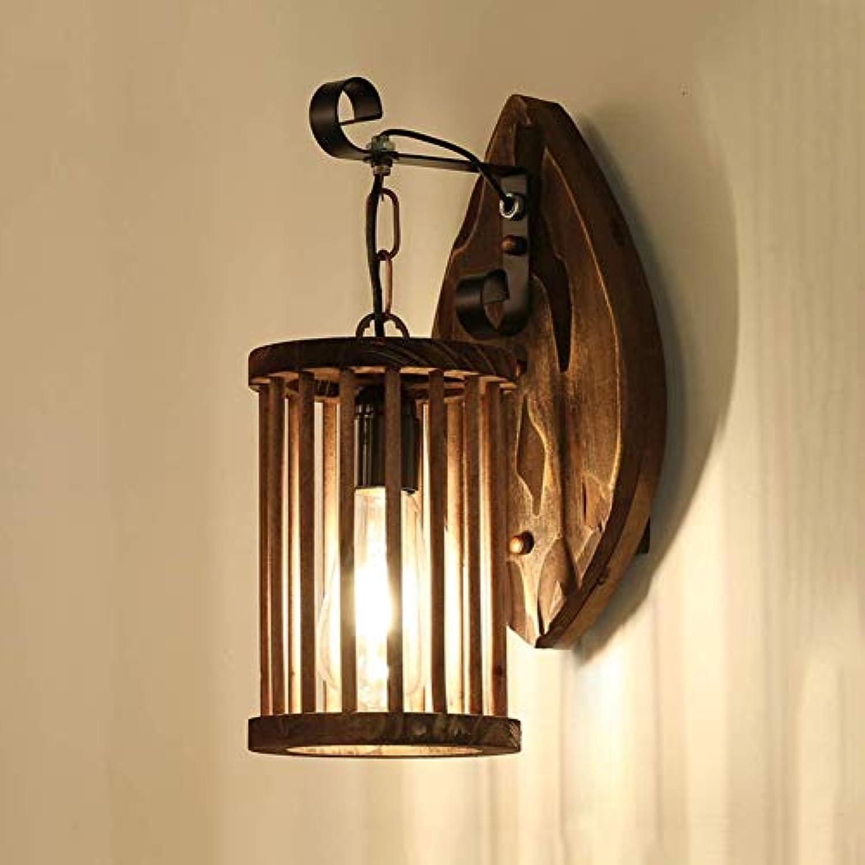Vintage Holz Wandleuchte Industrial Kfig Wandleuchte Rustikaler Stil Innen Dekoration Beleuchtung Für Wohnzimmer Schlafzimmer Bar Kaffee Restaurant E27
