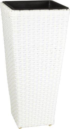 Weles GMBH Pot à Fleurs en résine tressée Gartenfreude avec Insert en Plastique pour l'intérieur et l'extérieur, de Couleur Blanc, 28 x 28 x 60 cm