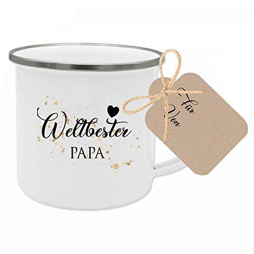 """Manufaktur Liebevoll Tasse mit Spruch """"Weltbester Papa"""" I Das perfekte Geschenk für den Papa I Geschenkidee zum Geburtstag, zum Vatertag und als Dankeschön I mit Geschenkanhänger"""